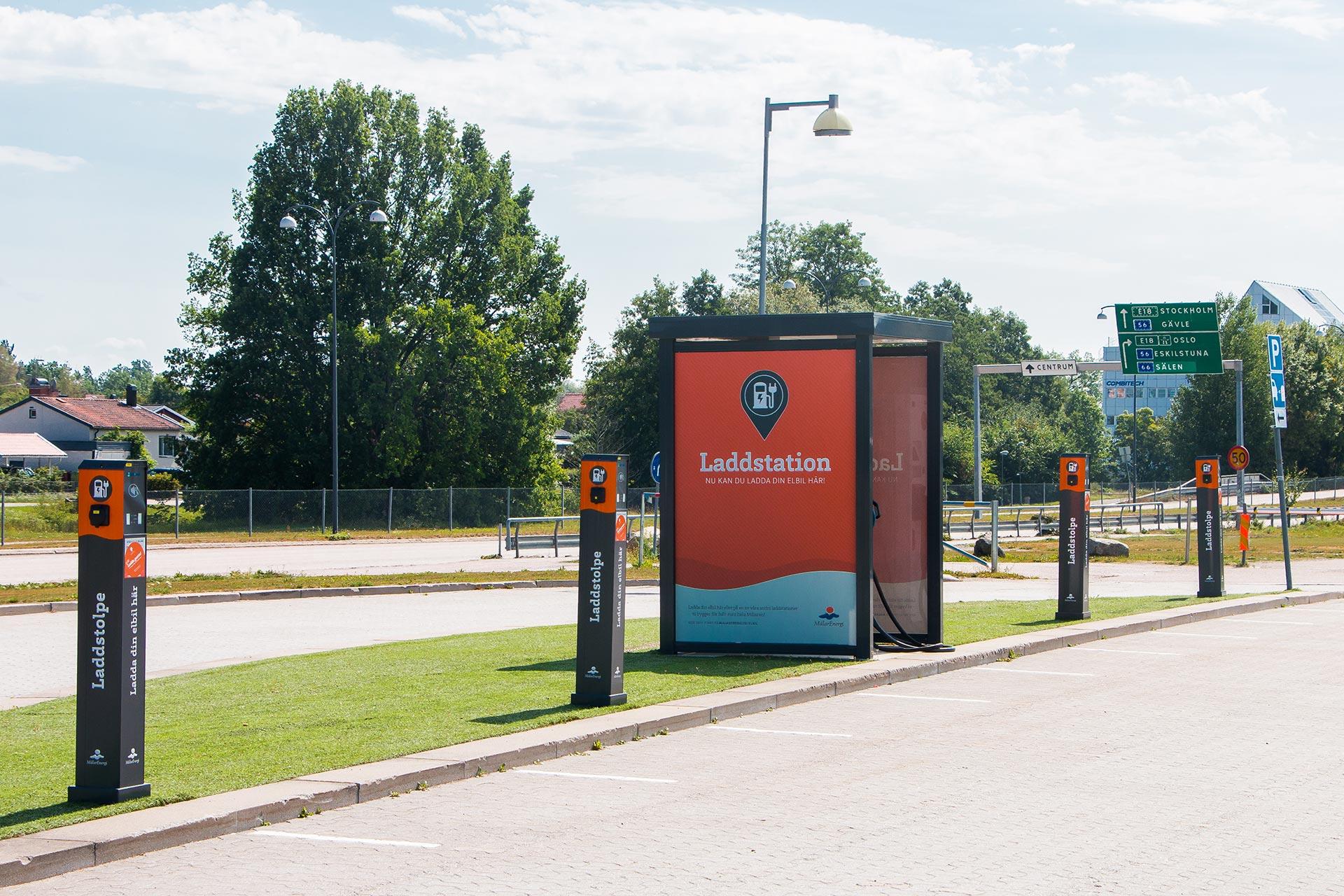 Laddningsstation för elbilar i Västerås. Foto: Mostphotos